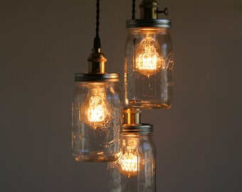 3 ball brand quart size wide mouth mason jars with solid brass socket  pendant light