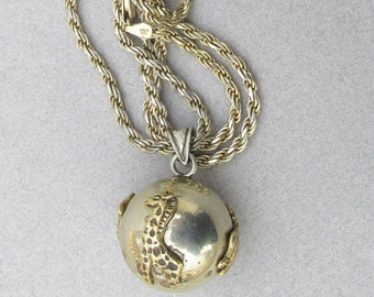 Sterling Silver & Gold Plated Vintage Safari Animals Harmony Chime Ball Necklace