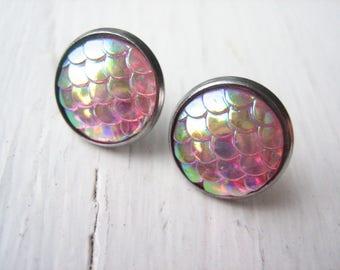 Pink mermaid scale stud earrings, pink resin studs, mermaid studs, pink fish scales, iridescent pink, mermaid post earrings, pink resin post