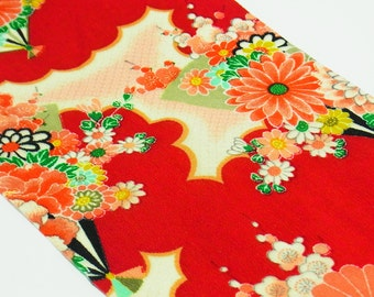 Fray-free Japanese Kimono fabric resinated Chirimen Fabric red