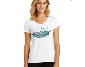 FLY! Feather V-neck T-shirt – exclusive design – handmade in Hawaii