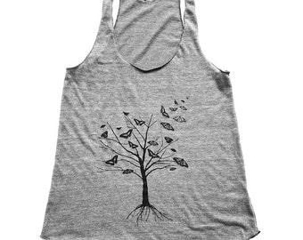 Womens Tree Tank Top - Womens Heather Grey Butterfly Tree Tank - Butterflies - Small, Medium, Large, XL