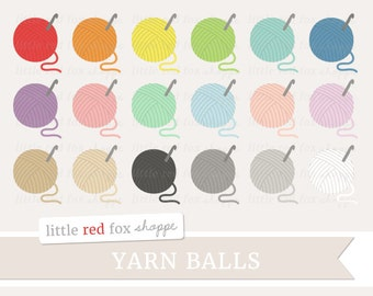 Yarn Ball Clipart, Crochet Clip Art Knitting String Twine Crafting Spool Sew Sewing Tag Cute Digital Graphic Design Small Commercial Use