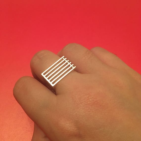 Silver Levels Square Ring