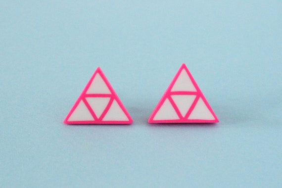 Neon pink studs - triangle earrings - geometric jewelry - sterling silver hooks