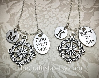 2 Best Friend Necklaces, Matching Friendship Necklaces, Compass Necklace, Find Your Way Back To Me, Couple Necklace, Friendship Necklace