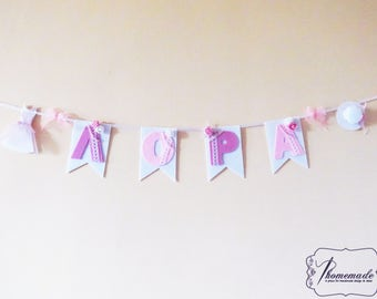 Party decor banner custom, Decoration name wall decor, Party garland, Baby shower decor pink, Fabric bunting baptism, Christening, Wedding