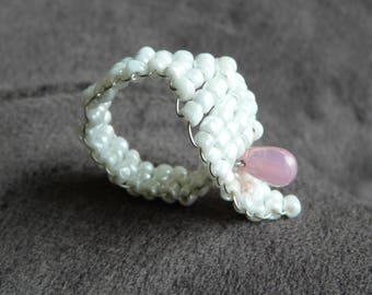 Pink oval mother of Pearl White seed and drop ring
