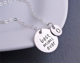 Mother's Day Custom Gift for Mimi, Silver Best Mimi Ever Necklace with Personalized Charms, Mother's Day Gift for Mimi, Mimi Birthday Gift