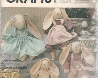 McCalls 3760 893 Designer Country Rabbit Doll and Doll Clothes Pattern 14  20  25 Inch Faye Wine  Bunny Vintage Sewing Pattern