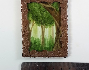 Miniature Framed Painting: Forest