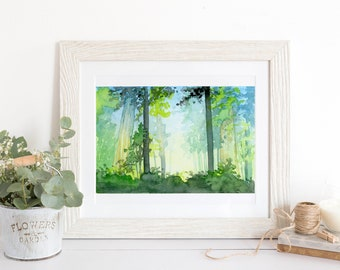 "Forest Glow Watercolor Art Print Wall Decor 5""x7"", 8""x10"", and 11""x14"""