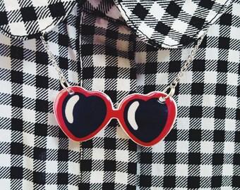 Lolita Necklace, Lolita Sungllasses Necklace, Heart-Shaped Glasses Necklace