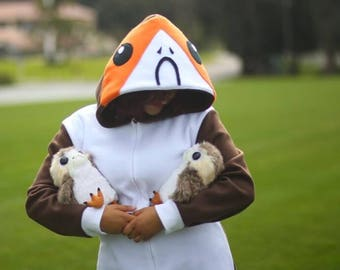 Porg onesie for adults sizes small medium large x large 2XL 3XL star wars the last Jedi pajamas costume porgs