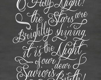 O Holy Night vinyl decal, Christmas chalkboard quote, Christmas wall decal, DB342