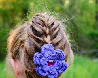 Purple Hair Clip Crochet Flower Hair Clip Flower Barrette Purple Barrette Baby Hair Clip Baby Girl Hair Clip Spring Hair Clip Summer Clip