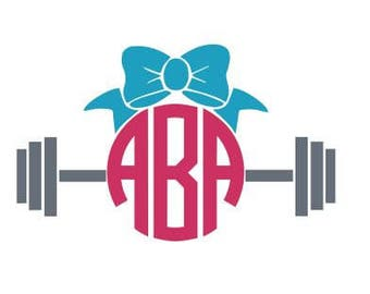 Bow Barbell Monogram Decal