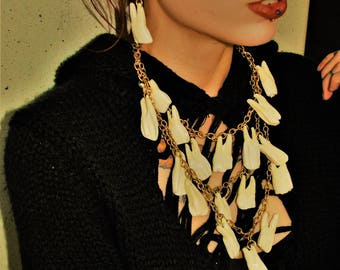 Bison molar bib necklace
