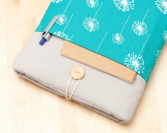 "12"" Macbook case / 11 inch macbook air case / custom laptop case / Netbook sleeve, computer case - Dandelion in blue with pockets -"