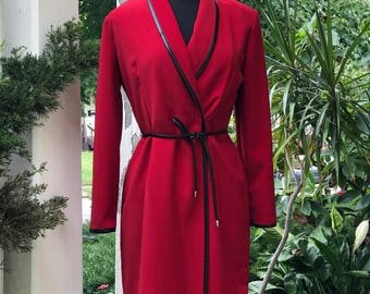 Red dress, long sleeve dress, sophisticated dress, flattering dress, winter dress, fall dress, knee length dress, shawl collar dress
