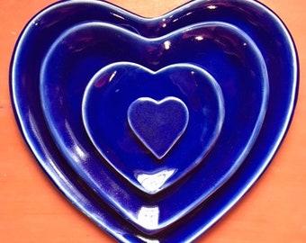 Heart Plate Set - Cobalt on Buff Clay Stoneware