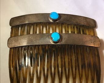 Old new stock pair of navajo sterling and turquoise combs