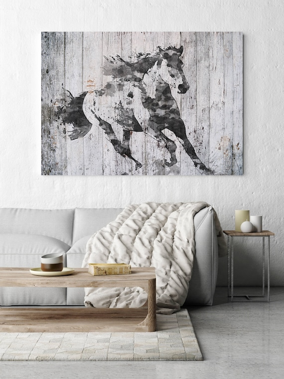 "Running Black Horse 2. Extra Large Horse, Horse Wall Decor, Brown Rustic Horse, Large Contemporary Canvas Art Print up to 81"" by Irena Orlov"