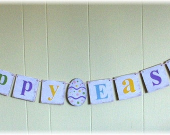 Happy Easter Banner Garland Shabby Chic Egg Multi Color Pink Lavender Custom Wood Sign