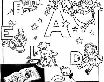 Hand Embroidery PATTERN 2003 ABC Book Alphabets for a Book 1960s