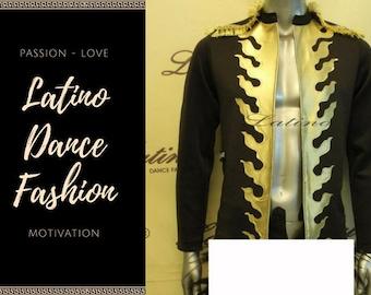 Latino men paso doble vest black and gold LB2210