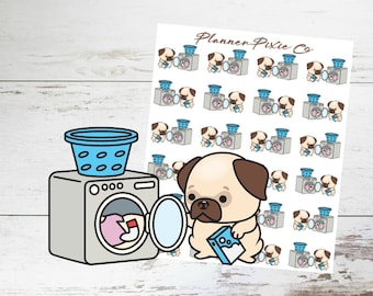 Pug Planner Stickers // Laundry // Housework // Chores