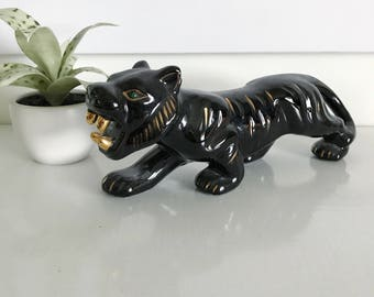 Amazing Vintage Black Ceramic Roaring Tiger, Gold, Green Jewel Eyes, Jungle Animal, West Pac Made in Japan, Hand Painted