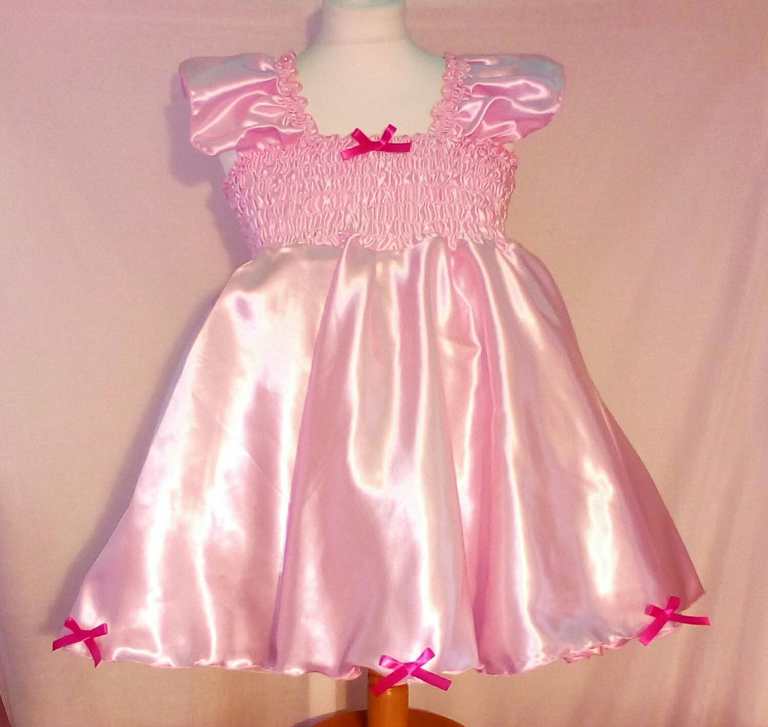 All sizes 39 GBP Adult Baby Sissy Short Dress in Pink Satin with