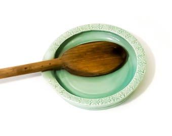 Pottery Spoon Rest - Light Green Spoon Rest - Ceramic Spoon Holder - Wheel Thrown Utensil Holder