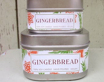 Gingerbread Soy Candle 4 oz. - Green Daffodil - Handpoured - Siouxsan and Anne -C4