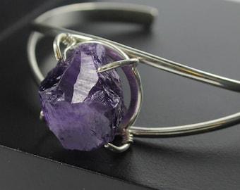 Rough Amethyst Sterling Silver Cuff Bracelet