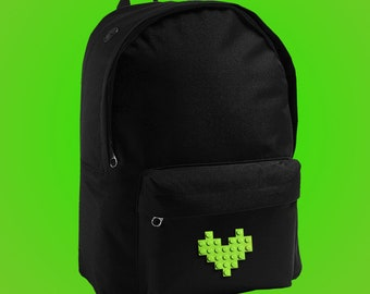 Black backpack with green LEGO® heart