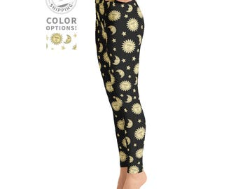 Sun & Moon Black Yoga Leggings | Festival Leggings | Pilates Leggings | Womens Leggings | Yogi Pants | Yogawear | Yogagear | Loopy Jayne