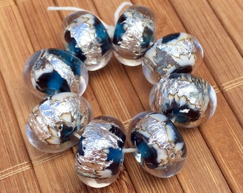 Buried Treasure Beads in Turquoise--HANDMADE Lampwork Beads