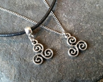 Celtic triple spiral necklace, celtic triskele, triskelion, wicca, pagan jewellery, gift