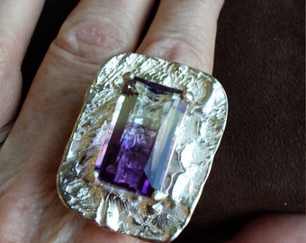 Sterling silver ametrine ring