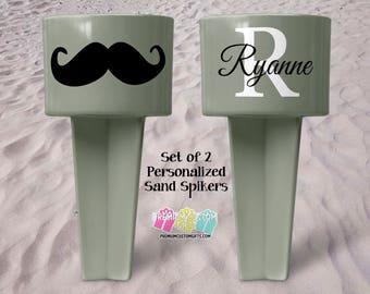 Set of 2 Monogram Sand Spiker - Beach Sand Spiker - Monogrammed Beach Cup Holder - Custom Beach Cup Holder - Valentine's Day - Drink Holder