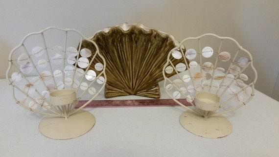 3 Piece Vintage Metal Ceramic Pottery Seashell Vase And