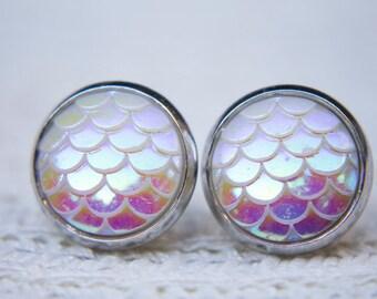 Opal Dragon Earrings, Dragon Scales, Mermaid Scales, Iridescent, Stud Earrings, Dragon Jewellery, Mermaid Jewellery, Mermaid Tail