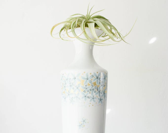 Mid Century Large Scale Colorful Glazed White Porcelain Botanical Vase // Jaeger West Germany // Flowers