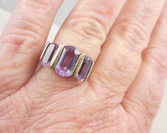 Genuine Purple Amethyst Sterling Ring