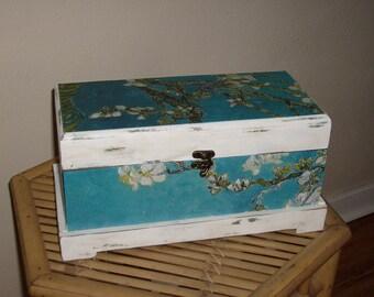 Upcycled Shabby Chic Wood Trinket Box, Jewelry Box, Storage Box, Chest, Large Jewelry Box, Decorative Storage Box, Rustic Jewelry Box