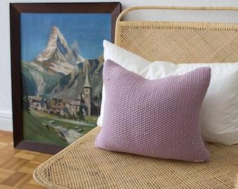 Strikk Hand Knit Seed Stitch Cushion in Pink