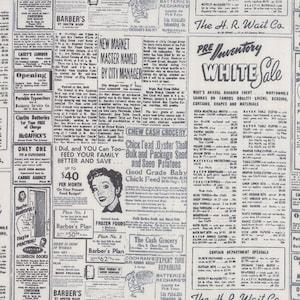 Modern Background - Newspaper Print Cotton Fabric in Black Fog - Zen Chic for Moda - Newsprint - Vintage Paper - 1582 17 - Black and White