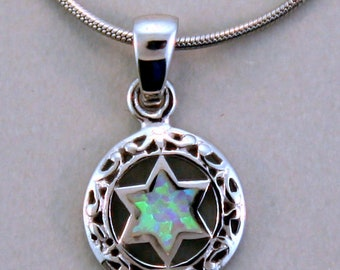 Star of David Sterling Silver and Opal Pendant.